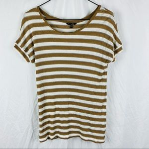 Mossimo Dutti Gold & White Shortsleeve Top Size XS